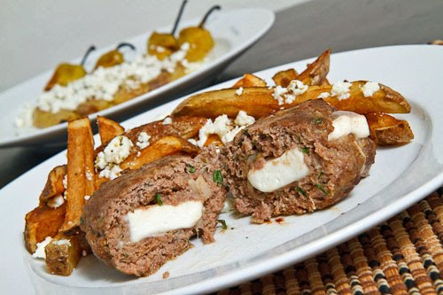 Biftekia Gemista (Feta Stuffed Burgers)