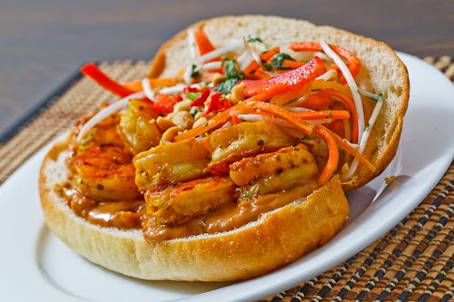 Spicy Peanut Shrimp Sandwich with Asian Slaw