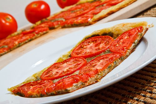 Tomato and Basil Pesto Parmesan Tart on Closet Cooking