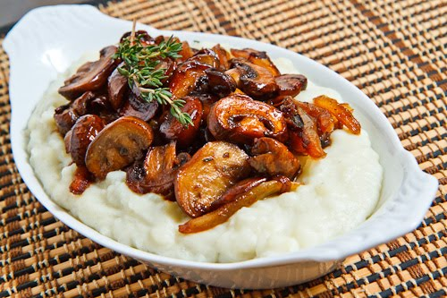 Blue Cheese Mashed Potatoes topped with Caramelized Onions and Mushrooms