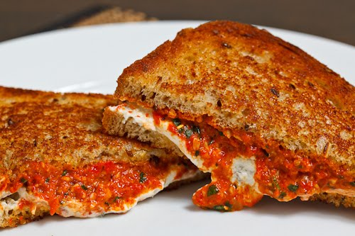 Grilled Goat Cheese and Roasted Red Pepper Pesto Sandwich on Closet ...