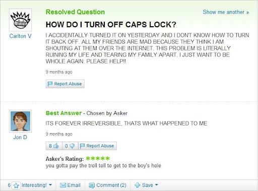 The dumbest question on Yahoo Answers?
