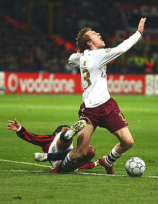 Alessandro Nesta of AC Milan brings down Aleksandr Hleb of Arsenal on the edge of the box. Hleb was subsequently given a yellow card for diving but replays indicated a definite foul by Nesta.