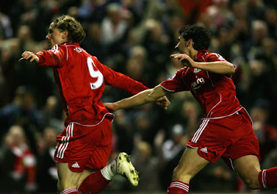 Liverpool striker Fernando Torres celebrates after scoring