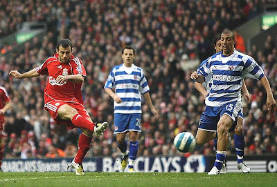 Javier Mascherano of Liverpool scores their first goal during the Barclays Premier League match between Liverpool