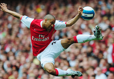 Gael Clichy of Arsenal in action