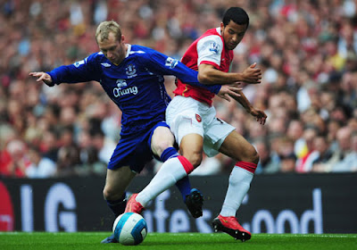 Tony Hibbert of Everton and Theo Walcott of Arsenal challenge for the ball