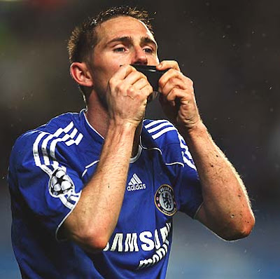Frank Lampard of Chelsea celebrates as he scores their second goal from the penalty spot.