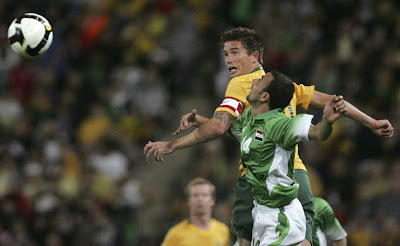 Harry Kewell heads the ball in World Cup qualifier v Iraq, Lang Park, Brisbane, June 1, 2008