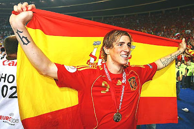 Fernando Torres of Spain holds the national flag after winning the title for Spain.
