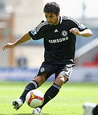 Deco of Chelsea scores against Wigan Athletic from a free-kick in just the fourth minute of the game.