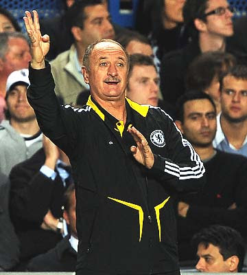 New Chelsea Manager Luiz Felipe Scolari gives his team instructions from the sidelines and the message must have gotten through as the Blues cruised to a 4-0 victory over Bordeaux in their first match of the Champions League group stage.