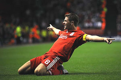 Liverpool captain Steven Gerrard celebrates his 100th goal for the Reds and third goal for the club on the night as Liverpool won the match 3-1 over PSV Eindhoven.