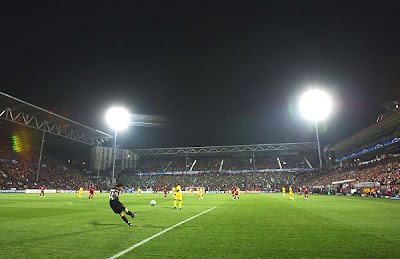 A general view of the Dr. Constantin Radulescu Stadium during the match between home club Cluj and English powerhouse Chelsea.<br />