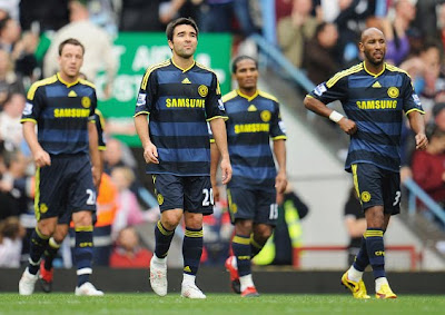 John Terry, Deco, Florent Malouda and Nicolas Anelka of Chelsea look dejected after their 2-1 loss to Aston Villa on Saturday
