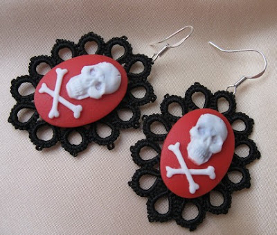 Tatted Red Skulls Earrings, tatting