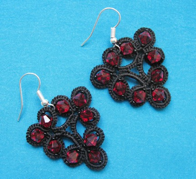 earrings, tatted, tatting, tatted earrings, ankars