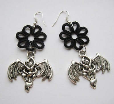 earrings, tatted earrings, tatting, tat