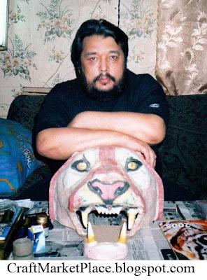 голова льва, голова тигра, муляжи животных