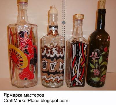 роспись по стеклу бутылки, роспись стекла, художественная  роспись по стеклу, декоративная роспись стекла