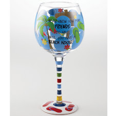 "Mud Pie Wine Glass-""You never know how many friends you have until you have a beach house"""