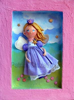 >>>>> Figuras en papel mache .... Hadita+Vestido+Violeta