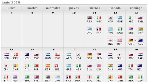 Cronograma peruano de los partidos del Mundial Sudafrica 2010