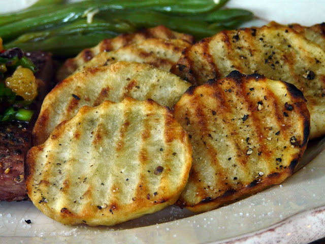 Roasted Russet Potatoes Grilled slices of russet