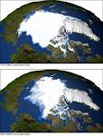 EFEITO ESTUFA: FOTO DA NASA DIVULGANDO A DIMINUIÇÃO DO GELO NO ÁRTICO