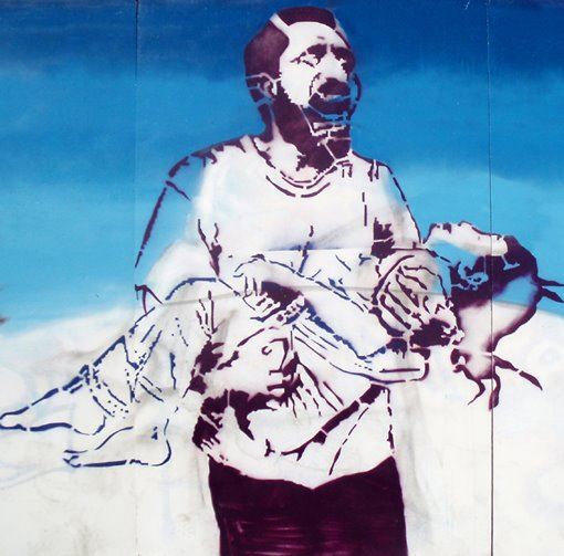 plantilla como base para mural acerca de la agresión contra Irak