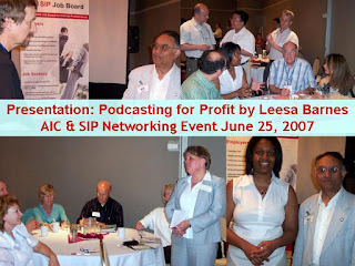 AIC & SIP Networking Event Podcasting for Profit by Leesa Barnes