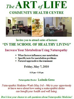 Increase Your Metabolism Using Naturopathy, The School of Healthy Living, Liudmyla Gerus, Toronto, Art of Life Health Centre, theartlife.ca