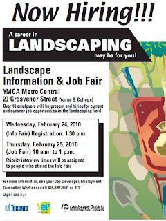 Poster: Landscape Information and Job Fair, YMCA Metro Central, Toronto, February 24 - 25, 2010
