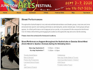 Screenshot Toronto Junction Arts Festival 2008 Street Performances, by artjunction.blogspot.com