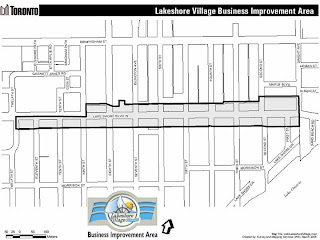 Toronto Lakeshore Village BIA Map, by wobuilt.blogspot.com