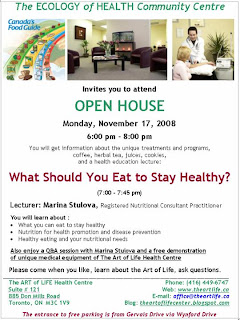 Ecology Of Health Open House Nutrition for health promotion and disease prevention November 17, 2008