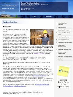 Screenshot: Toronto West Homes: Custom Builders: Wo-Built Stands for Quality and Style