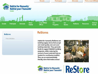 Screenshot: Habitat for Humanity ReStores: building supply stores