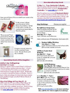Screenshot: West Toronto Junction Wise Daughters Craft Market Newsletter: News and Workshops, May 2009