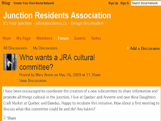 Screenshot: Junction Residents Association Toronto: Who wants a JRA cultural committee?