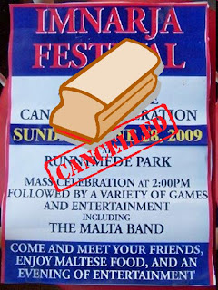 Flyer: Imnarja Festival, Sunday, June 28, 2009 at the Runnymede Park, Cancelled