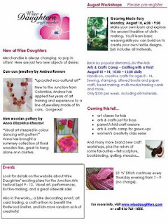 Screenshot: West Toronto Junction Wise Daughters Craft Market Newsletter: News and Workshops, August 2009