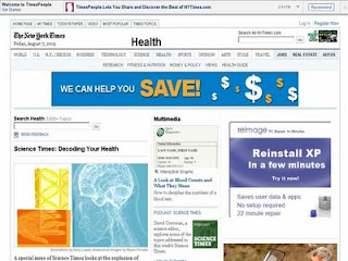 Screenshot: The New York Times: Health: Special Section: Science Times