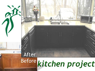 Wo-Built kitchen before and after renovation project: kitchen cabinets were redesigned to give the kitchen more streamlined and contemporary ambiance