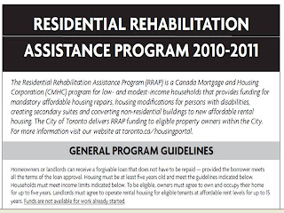 Screenshot: Residential Rehabilitation Assistance Program 2010 - 2011, city of Toronto, ON Canada