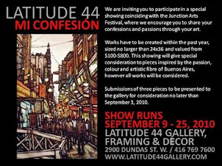 Poster: Call for Artists: Latitude 44 Mi Confesión My Confession, Show Runs: September 9 – 25, 2010