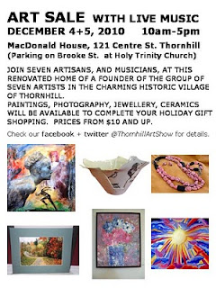 Art sale live music at J.E.H. / Thoreau Macdonald House, Ontario, December 4-5, 2010, by artjunction.blogspot.com