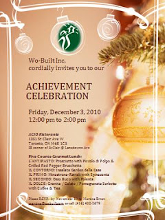 Invitation: Wo-Built's Construction Achievement Celebration 2010 at AGIO Ristorante,Toronto