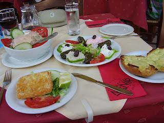 Saganaki cheese, tuna salad, garlic bread
