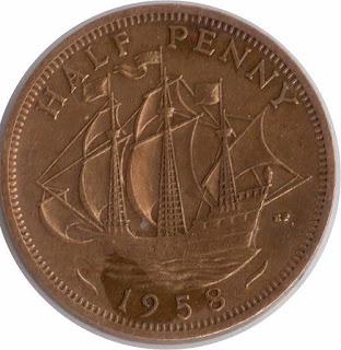 Elzabeth II Coins vessels Ships Монеты с кораблями и парусниками flagman galleon Münze die Hälfte des Pennys pièce anglaise moneda inglesa la mitad del penique Golden Hind